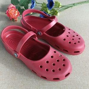 Crocs Maryjane Shoes 9 Rustic Red EUC Comfort